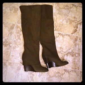 ASH Pearl Leather Knee High Brown Boot Wedges
